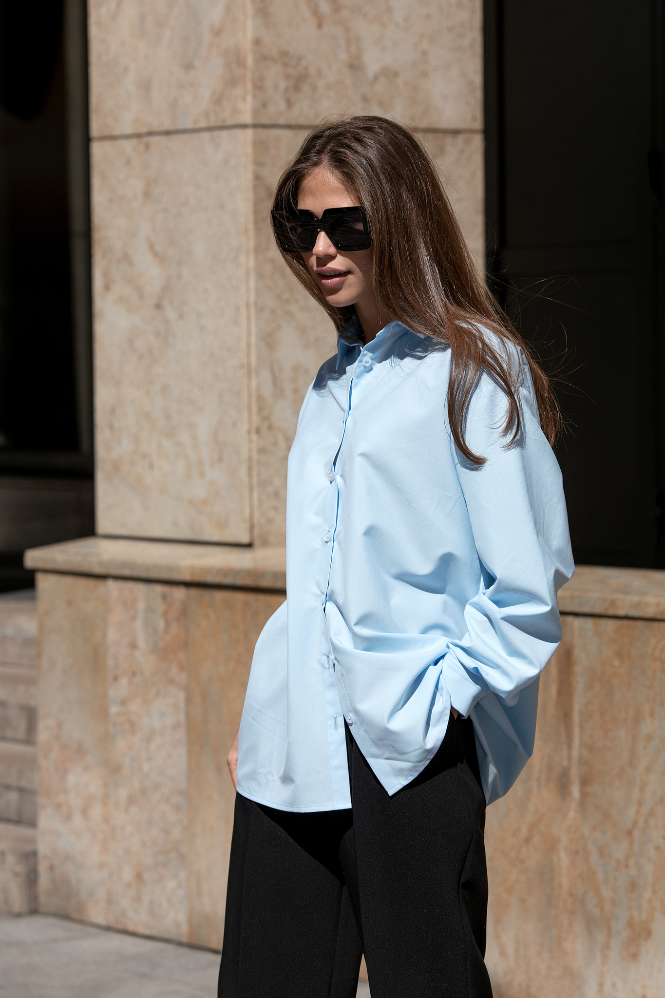 Рубашка из хлопка свободного кроя (one size) (голубой)