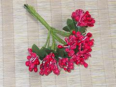 Тычинки с ягодами в букете красные