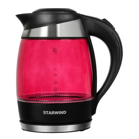 Чайник электрический Starwind (1,8 литра) 2200 Вт, LED подсветка, розовый
