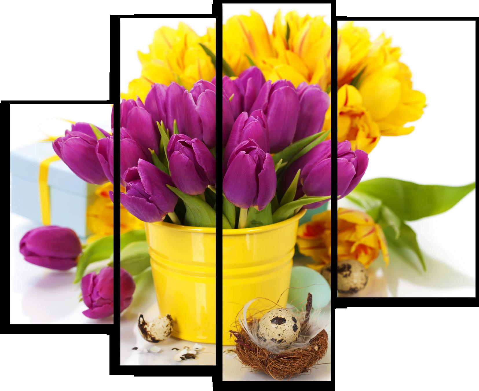 """Цветы Модульная картина """"Желтые и фиолетовые тюльпаны"""" М673.png"""