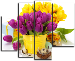 """Модульная картина """"Желтые и фиолетовые тюльпаны"""""""