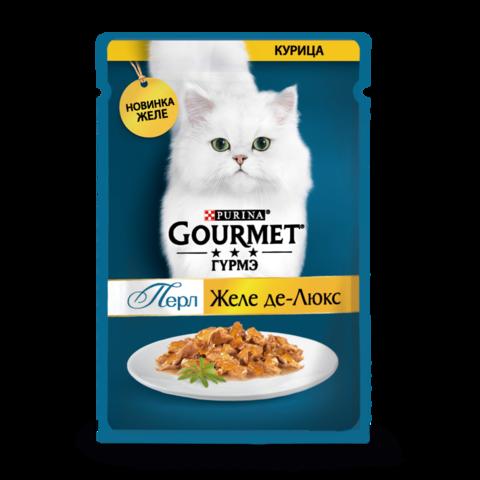 Gourmet Perle Консервы для кошек с Курицей Желе Де-люкс (Пауч)