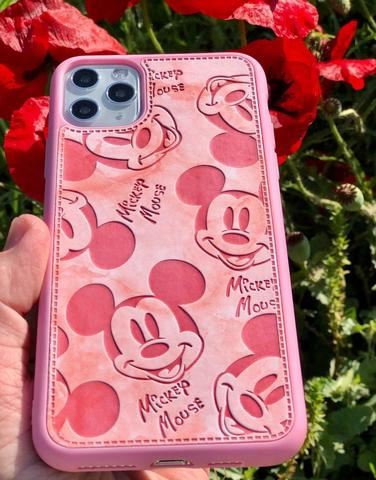 Чехол iPhone  XS Max Mickey Mouse Leather vintage /pink/