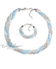 Комплект из бисера серебристо-голубой 24 нити