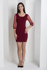 Мадлен. Оригінальна сукні з гіпюровими рукавами. Бордо