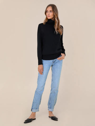Женский свитер черного цвета из шерсти и кашемира - фото 5