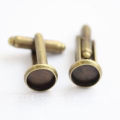 Основа для запонок с сеттингом для кабошона 8 мм (цвет - античная бронза ), 19х18 мм, пара