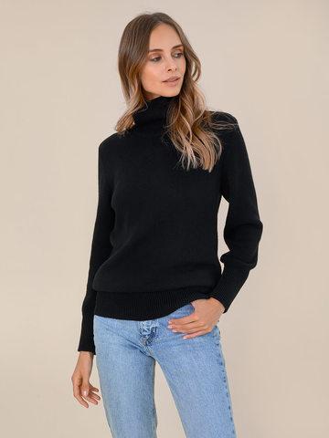 Женский свитер черного цвета из шерсти и кашемира - фото 2