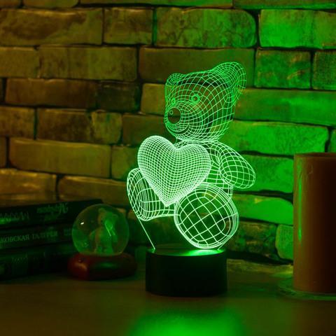 Светильник Медвежонок и сердечко