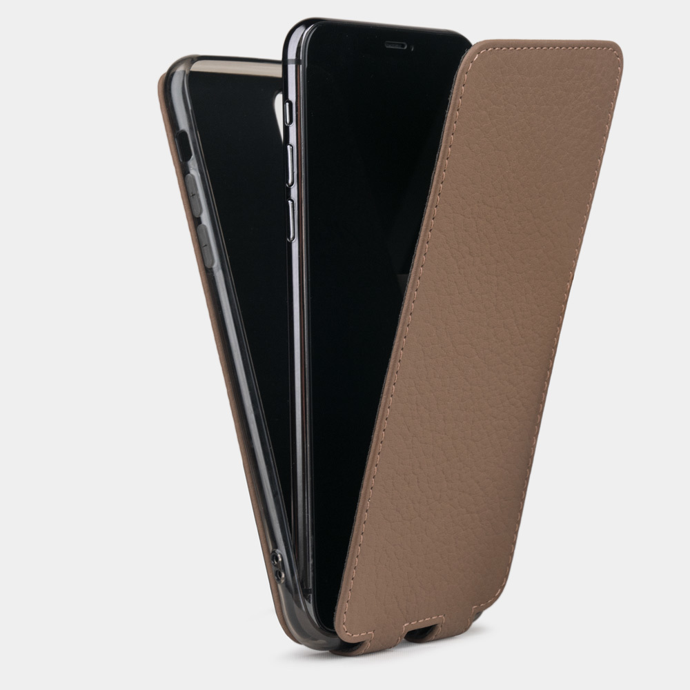 Чехол для iPhone 11 Pro Max из натуральной кожи теленка, цвета кофе