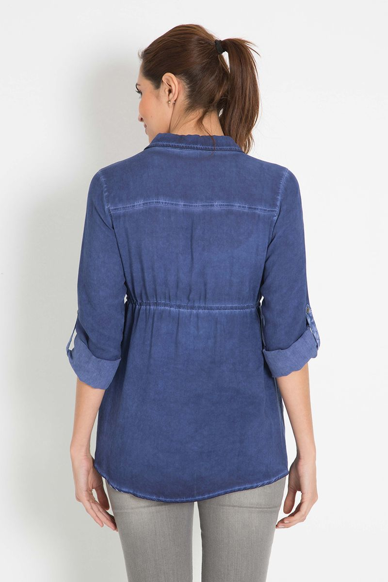 Рубашка для беременных 07886 синий