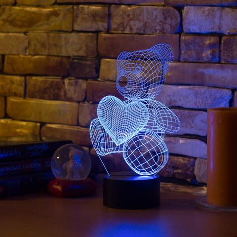 Лампа Абстракция Медвежонок и сердечко