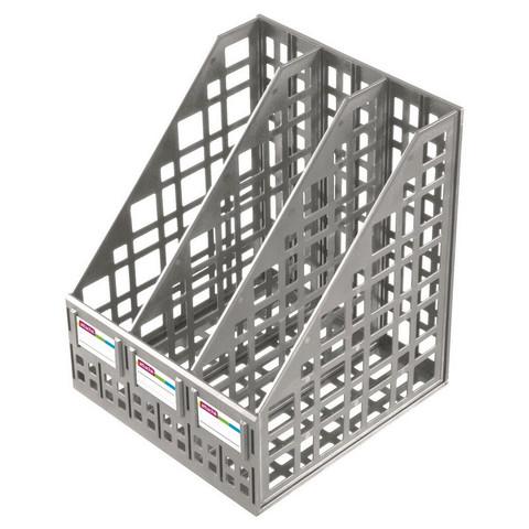 Лоток для бумаг Attache вертикальный 3 отделения серый
