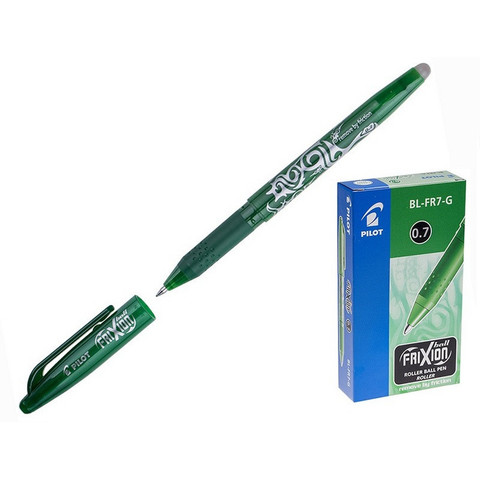 Ручка гелевая со стираемыми чернилами Pilot BL-FR7-G Frixion зеленая (толщина линии 0.35 мм)