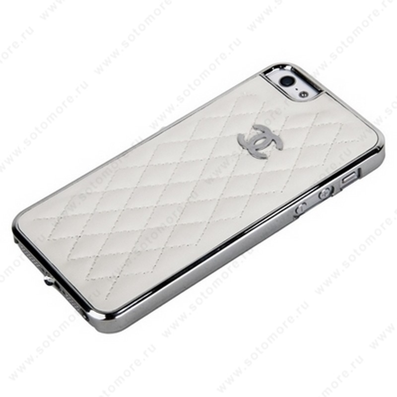 Накладка CHANEL для iPhone SE/ 5s/ 5C/ 5 серебряная+белая кожа