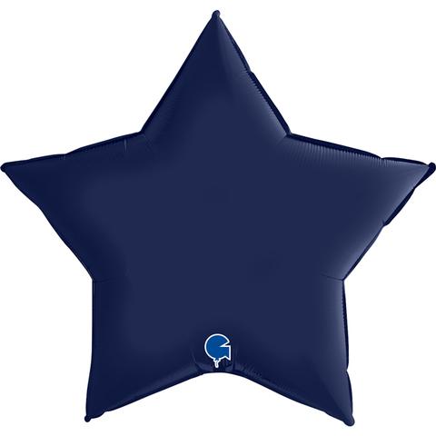 Воздушный шар звезда большая, Темно-Синий, Сатин, 91 см