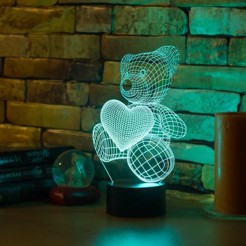 3D ночник Абстракция Медвежонок и сердечко