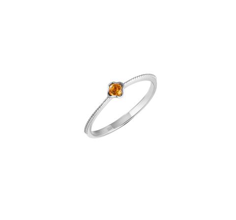 Кольцо с цитрином в лепестках