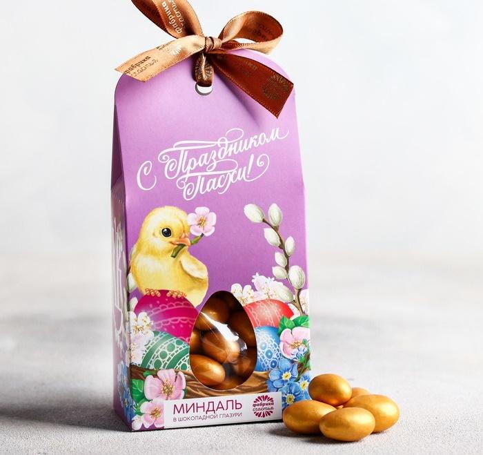 Миндаль в шоколадной глазури «С Праздником Пасхи», 100 г фото