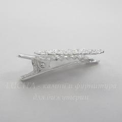 Основа для заколки с филигранью 25 мм, 32х25 мм  (цвет - серебро)