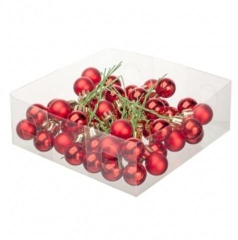 Набор шаров елочных на проволоке 48шт. (пластик), D2см, цвет: красный