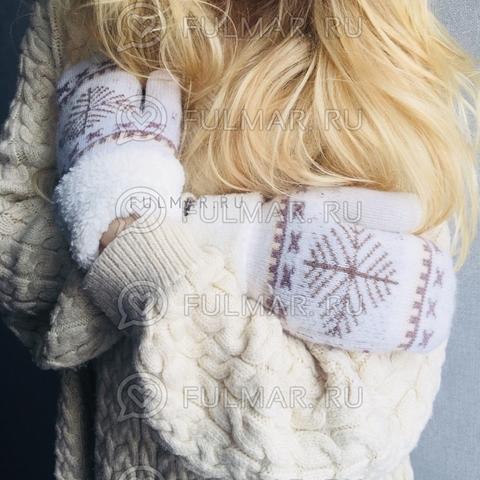 Варежки шерстяные вязаные со снежинками бежевые (цвет: белый)