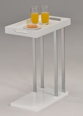 """Приставной столик """"MK-2390-WT. (SR-1432-WT)"""" со съёмным подносом —  Белый + хром"""