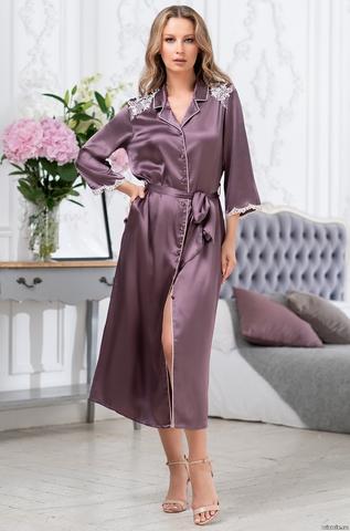 Шелковый длинный халат на пуговицах MIA-Amore BRIGITTE БРИДЖИТ 3689
