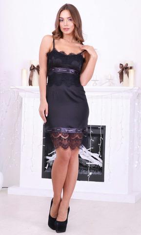 Короткое шелковое мини-платье с кружевом, черное 1