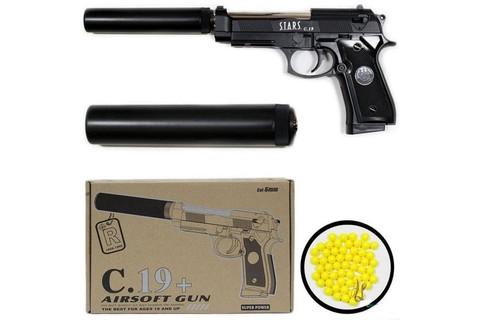 Пистолет c глушителем Airsoft Gun C.19+
