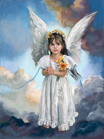 Картина раскраска по номерам 30x40 Ангельский ребенок на небе