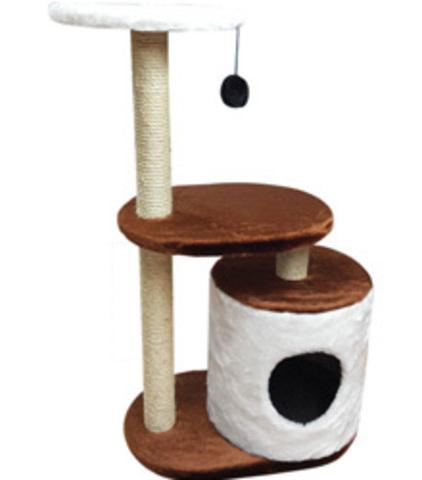 Когтеточка - Домик цилиндр с двумя уровнями площадок и игрушкой