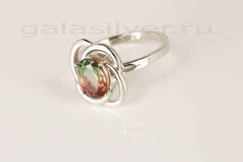 Кольцо мистик кварцем из серебра 925
