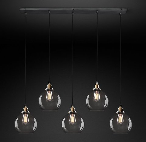 Подвесной светильник копия 20th C. Factory Filament Smoke Glass Caf? Rectangular  Pendant by Restoration Hardware