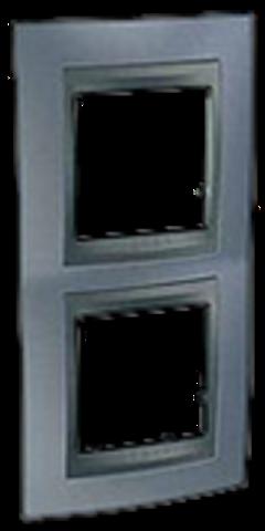 Рамка на 2 поста, вертикальная. Цвет Грэй-графит. Schneider electric Unica Top. MGU66.004V.297