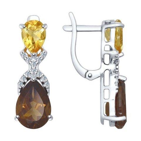 92021410 - Серьги из серебра с миксом камней (цитрин+раухтопаз)