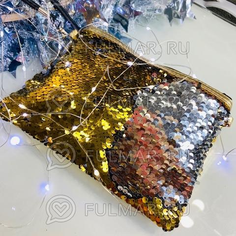 Клатч-сумочка на молнии детская с пайетками меняющая цвет Золотистый-Серебристый
