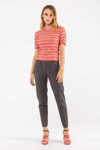 Фото розовый т-шот в оранжевую полоску с округлым вырезом - Т-шот М371-464 (1)