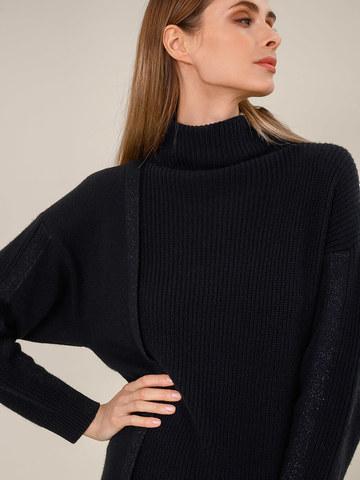 Женское платье черного цвета из шерсти и кашемира - фото 5