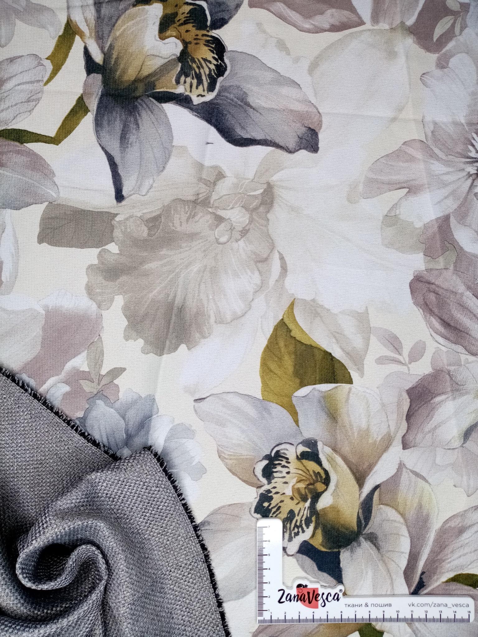 Димаут рогожка двухсторонний 3Д Цветы серый