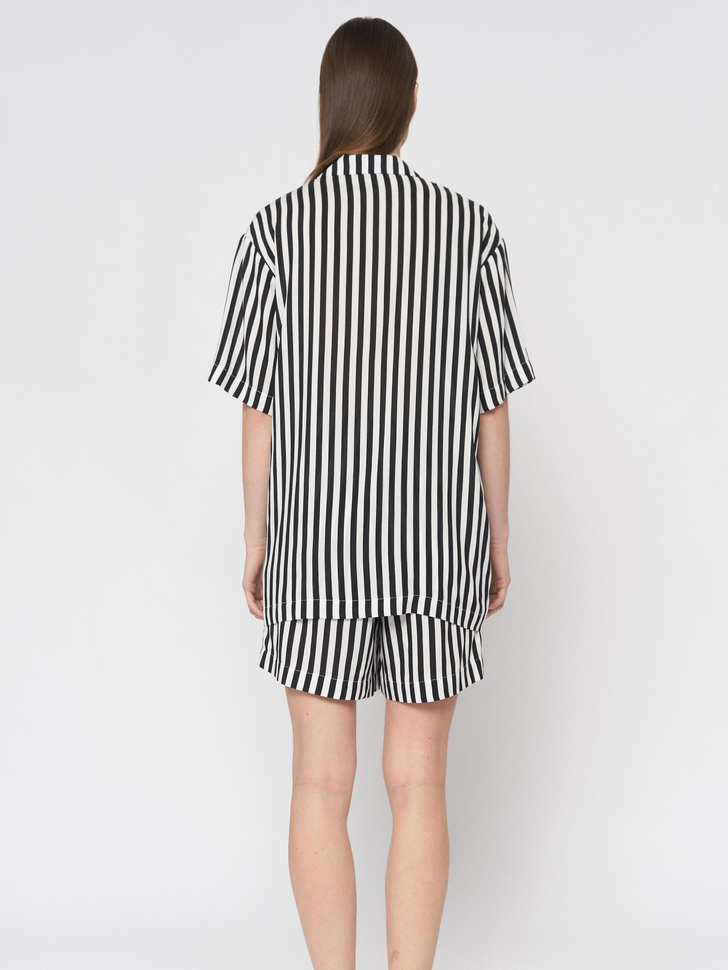 Рубашка в полоску Lexi в пижамном стиле, Черный