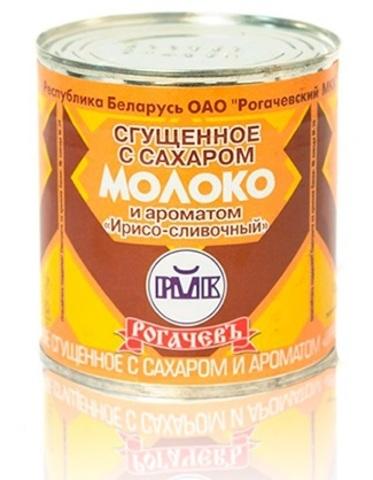 Молоко цельное сгущённое с сахаром и ирисо-сливочным ароматом 8,5% 380г. Рогачёв