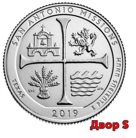 25 центов 49 - й парк США Национальный исторический парк Миссии Сан-Антонио (двор S)