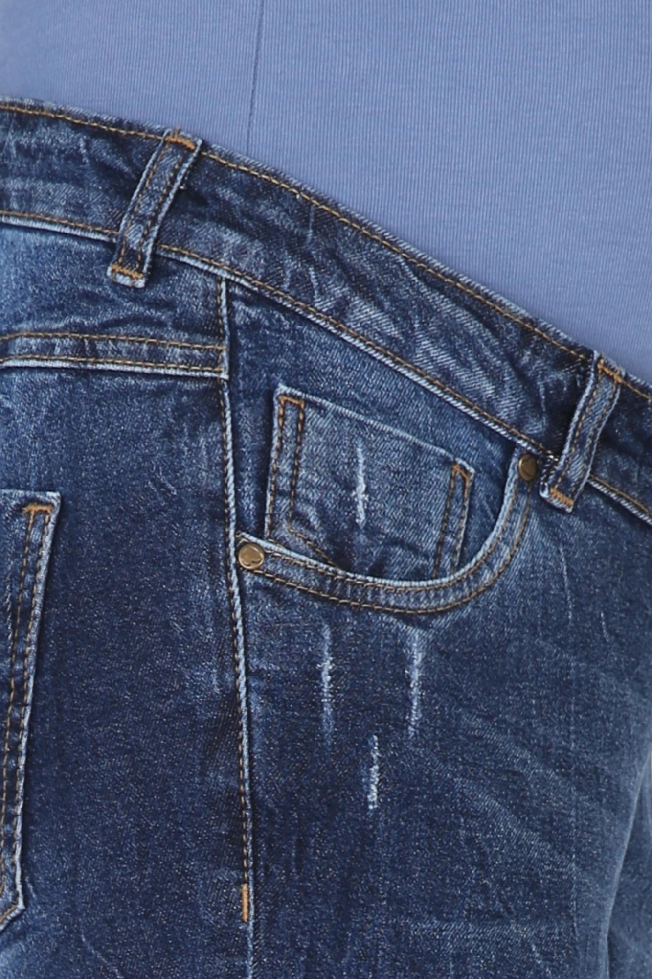 Фото джинсы для беременных MAMA`S FANTASY, regular, широкий бандаж, потертости от магазина СкороМама, синий, размеры.
