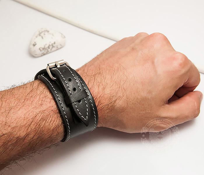 BL405-2 Черный браслет ручной работы с белой нитью. «Boroda Design» фото 05