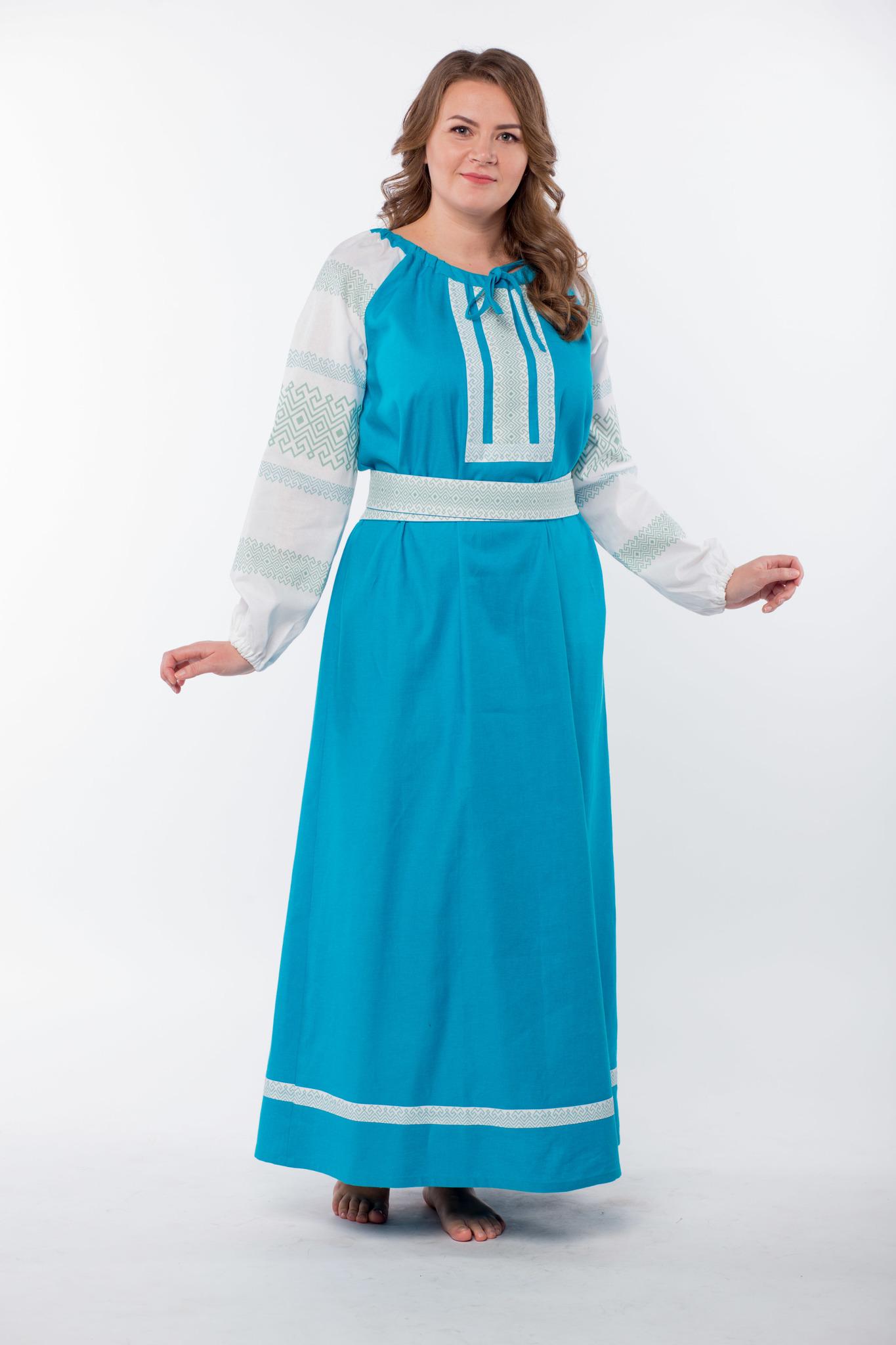 Платье льняное Заморское бирюзовое