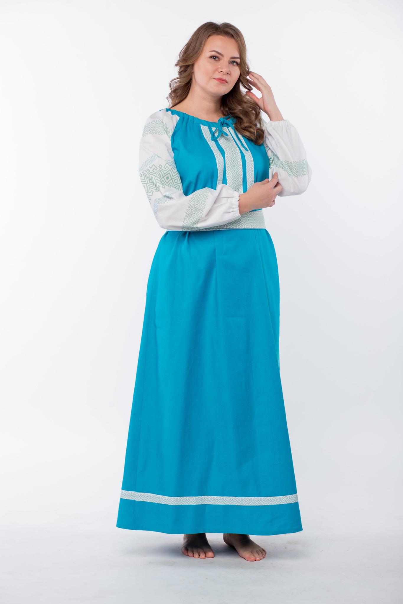 Платье льняное Заморское бирюзовое вид сбоку