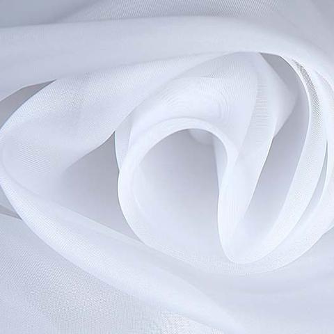Ткань вуаль с утяжелителем однотонная для штор - холодный белый. Ширина- 295 см. Арт. 301-1