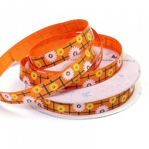 Лента декоративная принтованная. Ширина 12 мм. Цвет 02.  Оранжевый.