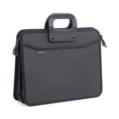 Папка-портфель пластиковая А4+ черная (390x320 мм, 4 отделения, усиленная ручка)